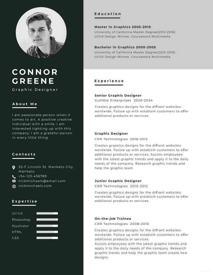 Modern Resume Template Word, AI, EPS and PSD 2 Pages in