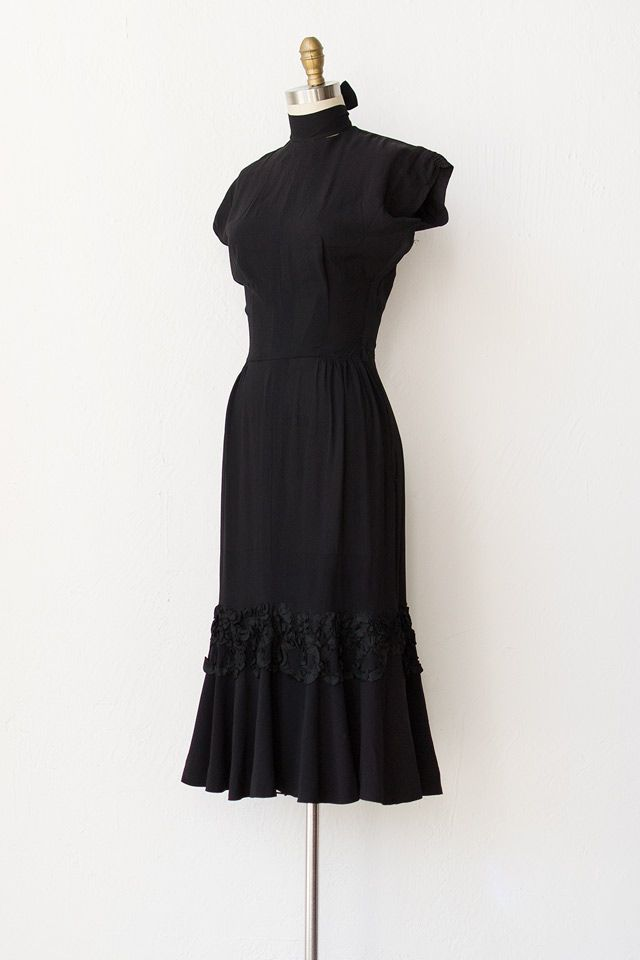 Vintage 1940s Black Bombshell Dress With Ruffle Vintage Clothes