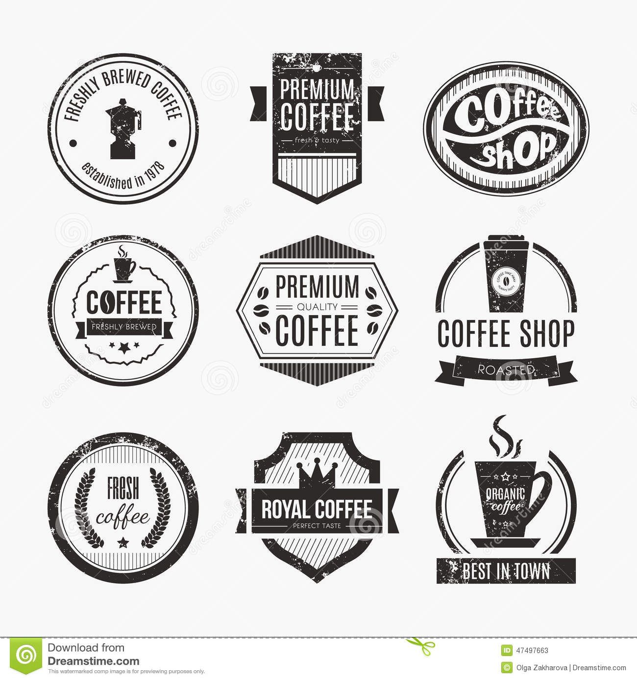 Coffee Shop Logo Collection Huruf, Kopi