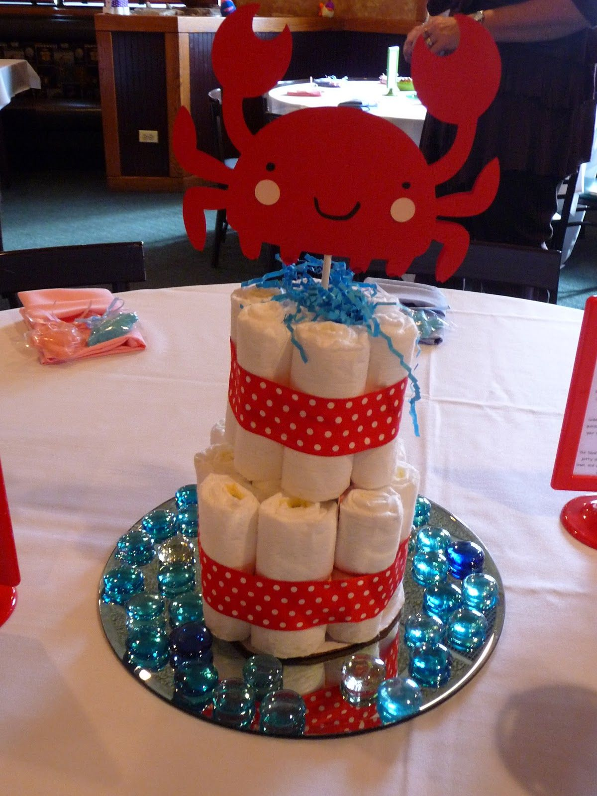 Under the Sea Themed Baby Shower Crab Diaper Cake Centerpiece