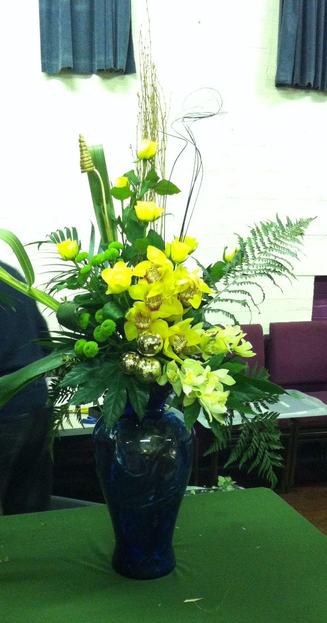 Flower Arrangement Orchid, Rose, Chrysanthemum, Phormium, Fatsia, Aspidistra, Fern