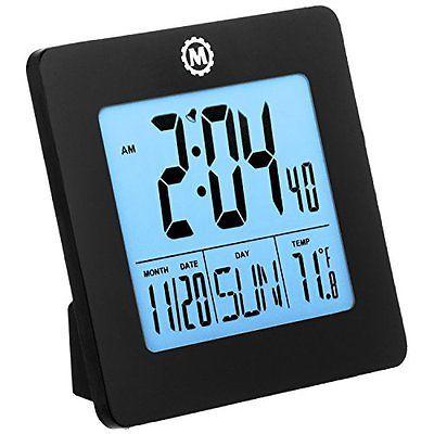 Marathon Cl030050bk Digital Desktop Clock With Day Date