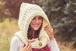This is a PDF crochet pattern for a fashionable hooded cowl in five sizes. This is not a beginner pattern, it uses star stitch which makes it more intermediate. Instructions and photos are given for the star stitch technique.