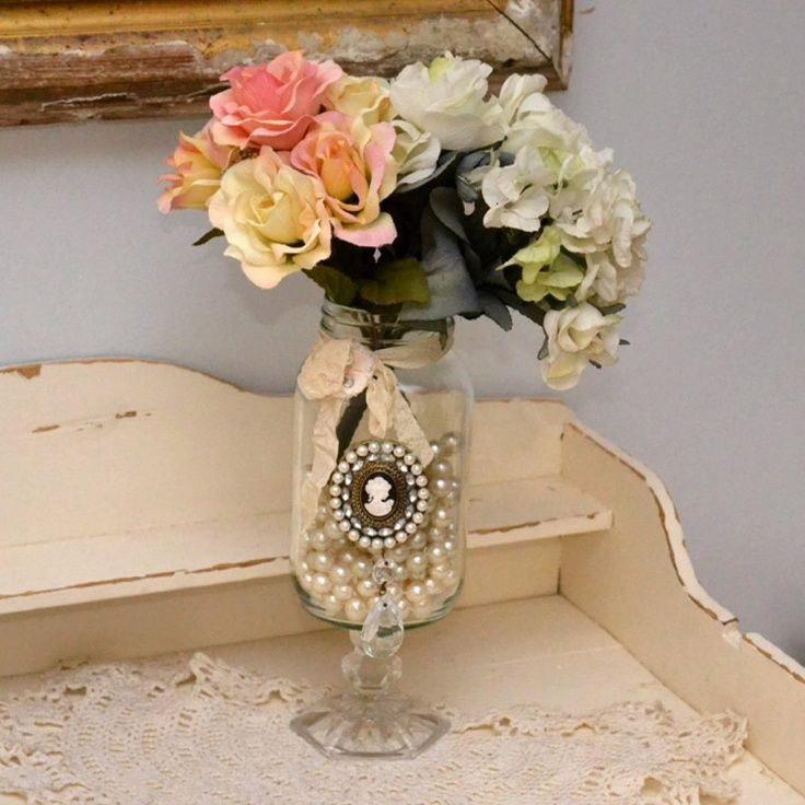 French Victorian Chic Handmade Decorative Glass Jar DIY Idea Mason Goblet Glued Underneath Add Front Decal