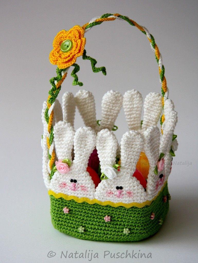 Sehr schöne Idee für ein Osterkörbchen - süße Hasen im Gras ...