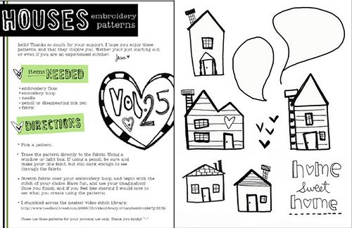 houses embroidery kit by vol25, via Flickr..cute doodle inspiration