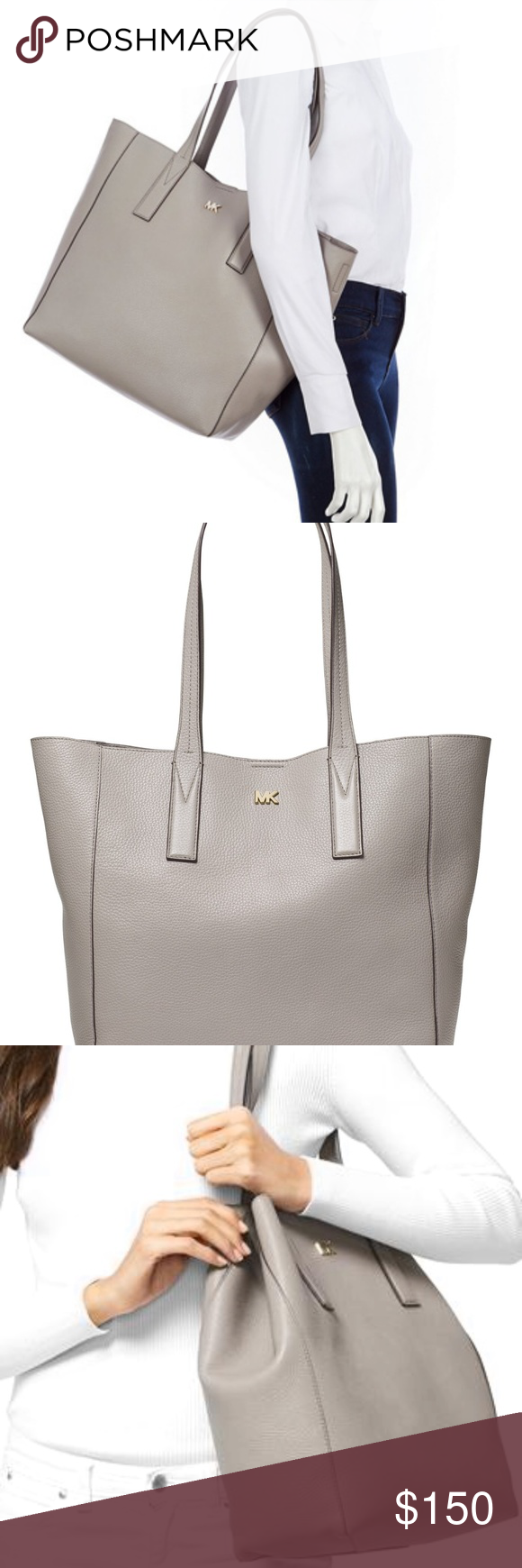 d3f08c0c5e0b Michael Kors Junie Large Tote Pearl Grey NWT Brand new with tags Junie Large  Pebbled Leather
