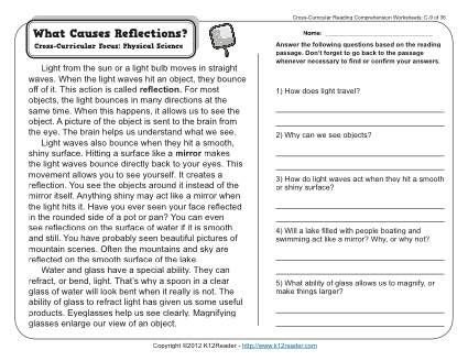 What Causes Reflections Reading Comprehension Worksheets