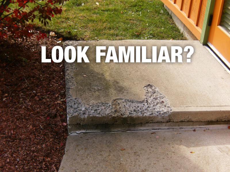 PROBLEM - Spalled concrete, SOLUTION - Seal the concrete