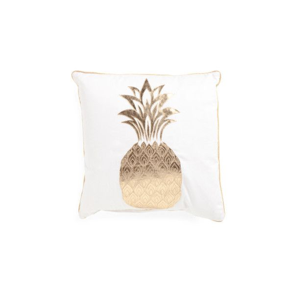 20x20 metallic pineapple pillow ($25) ❤ liked on polyvore