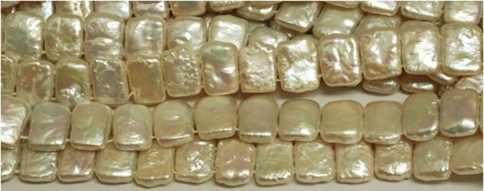 "1 Strand White Freshwater Pearl Rectangular Shape Double Side Drilled 15"" Long. #luctsa #Smooth"