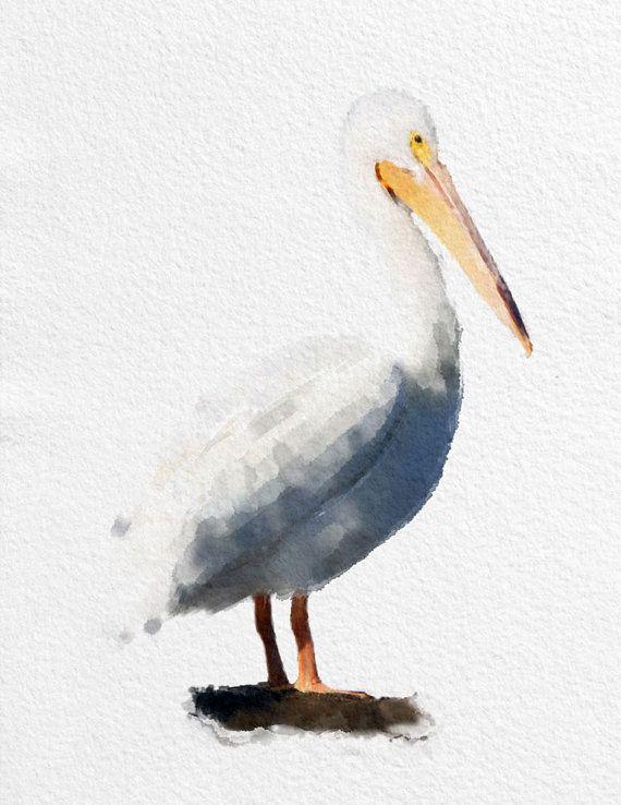 Pelican Watercolor Painting Art Print Bird Black White Grey Yellow Home Decor Wall Kitchen