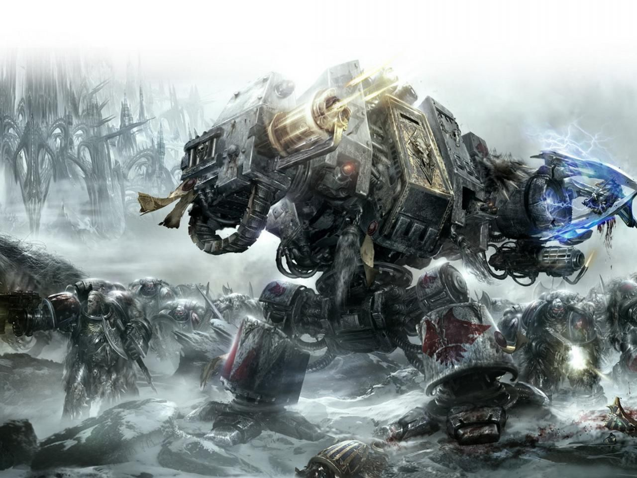 """Warhammer Dreadnought. Cover for the """"Battle of the Fang"""" novel."""