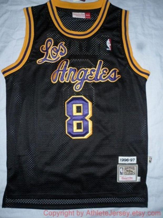 c5c0c09c79f ... Kobe Bryant 8 Los Angeles Hardwood Classic 1996-1997 Black NBA  Basketball Jersey La ...