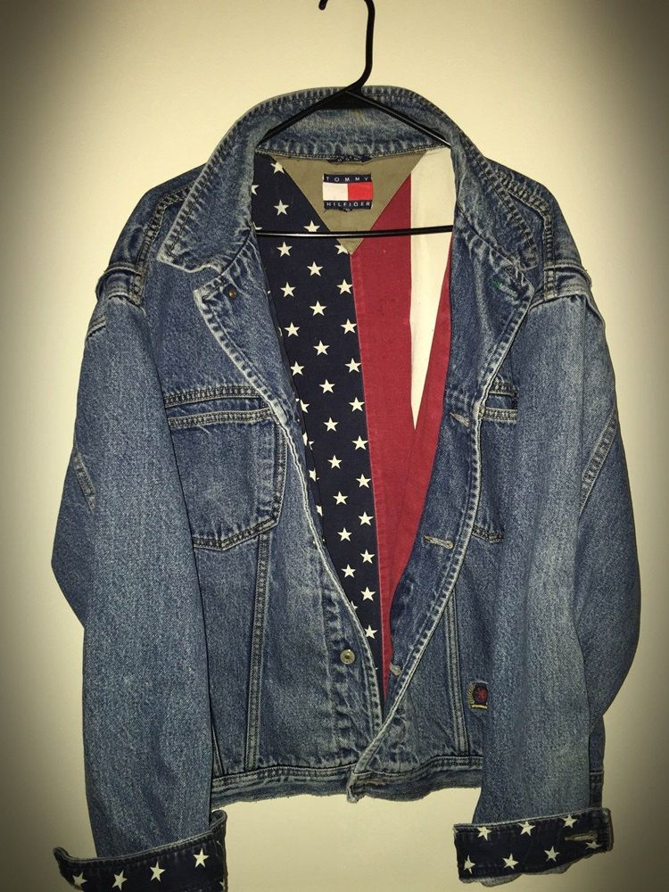 742a99effb2 Vintage 90 s Tommy Hilfiger USA Flag Lined Denim Jean Jacket - Size 2XL by  JourneymanVintage on Etsy