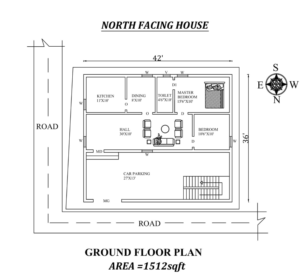 42 X36 Amazing North Facing 2bhk Ground Floor House Plan As Per Vastu Shastra House Plans How To Plan Ground Floor