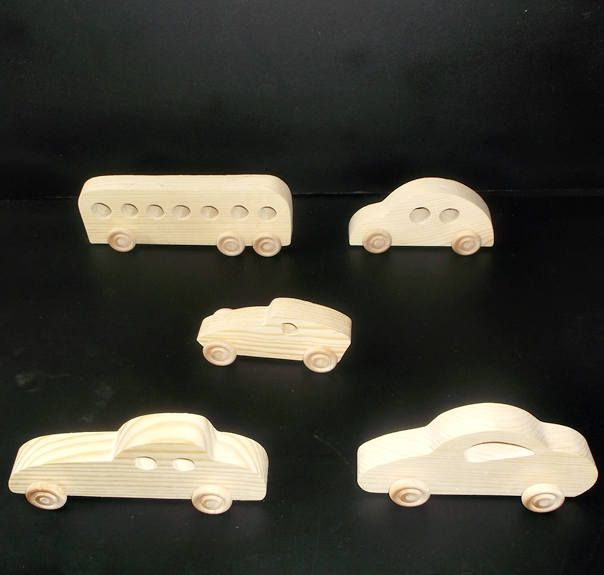 5 Handcrafted Wood Toy Cars, Bus OT-12 Unfinished Or