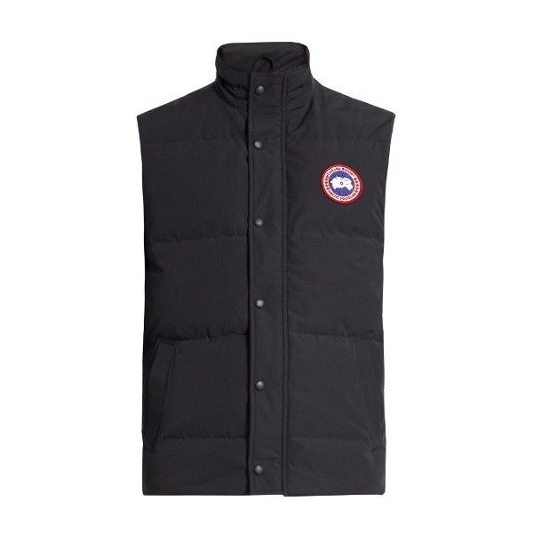 Canada Goose Garson quilted down gilet ($260) ❤ liked on Polyvore featuring men's fashion, men's clothing, men's outerwear, men's vests, navy, mens slim ...