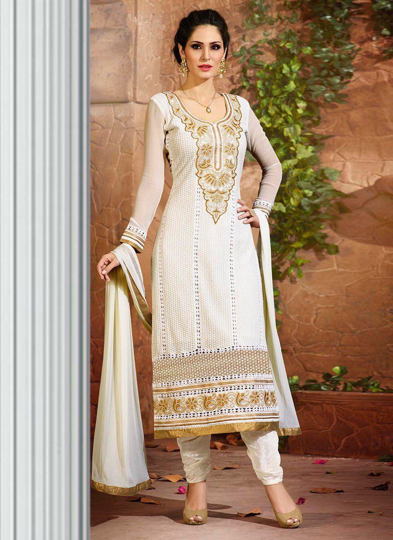 69f2e72249 Off White Georgette Bruna Abdullah Straight Suit Wedding Salwar Kameez, Indian  Salwar Kameez, Churidar