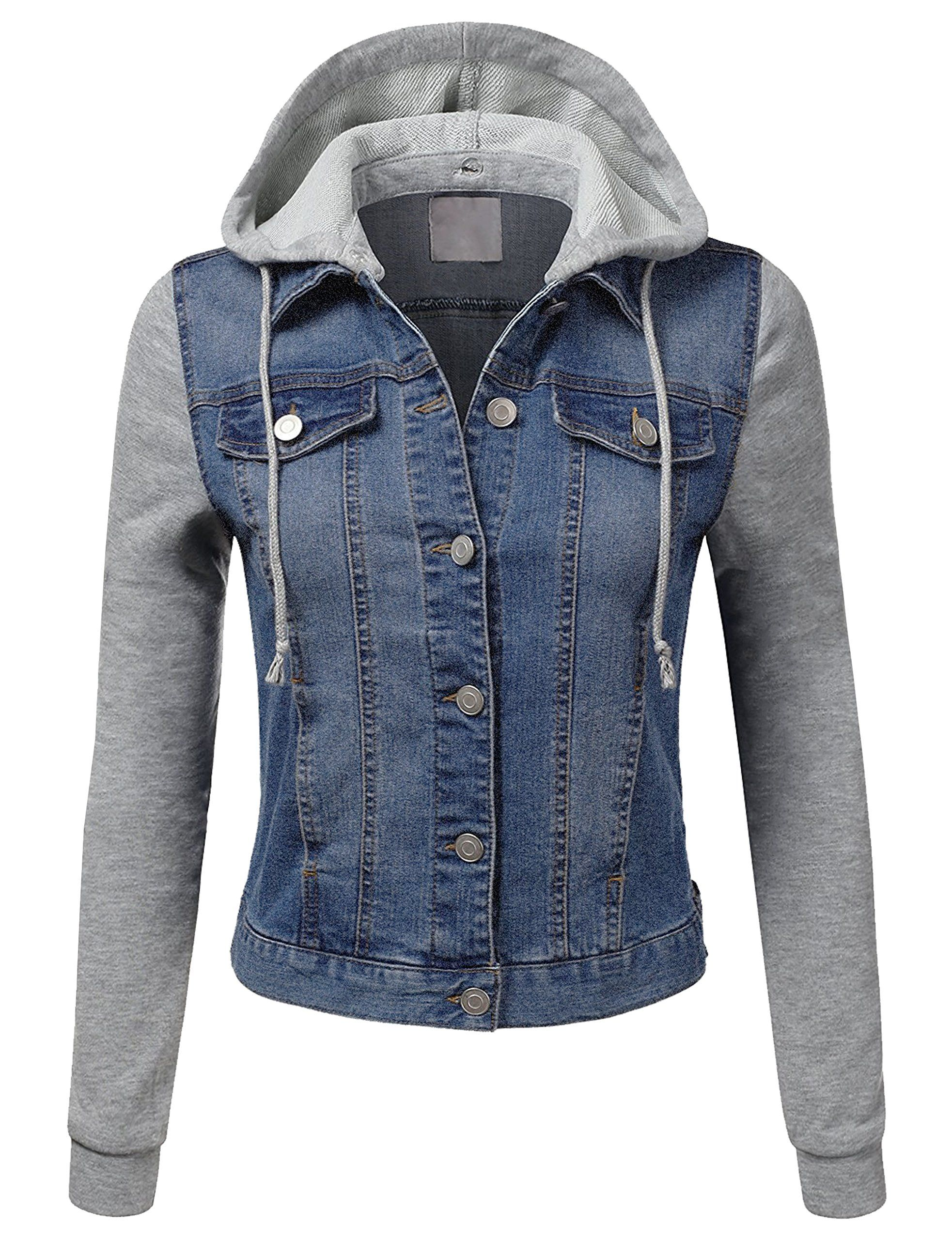 Kooldo Womens Denim Jacket Lightweight Fleece Hoodie Sleeve And Pocketslblue Details Can Be Fou Denim Jacket Women Fitted Denim Jacket Womens Jackets Casual [ 2560 x 1965 Pixel ]
