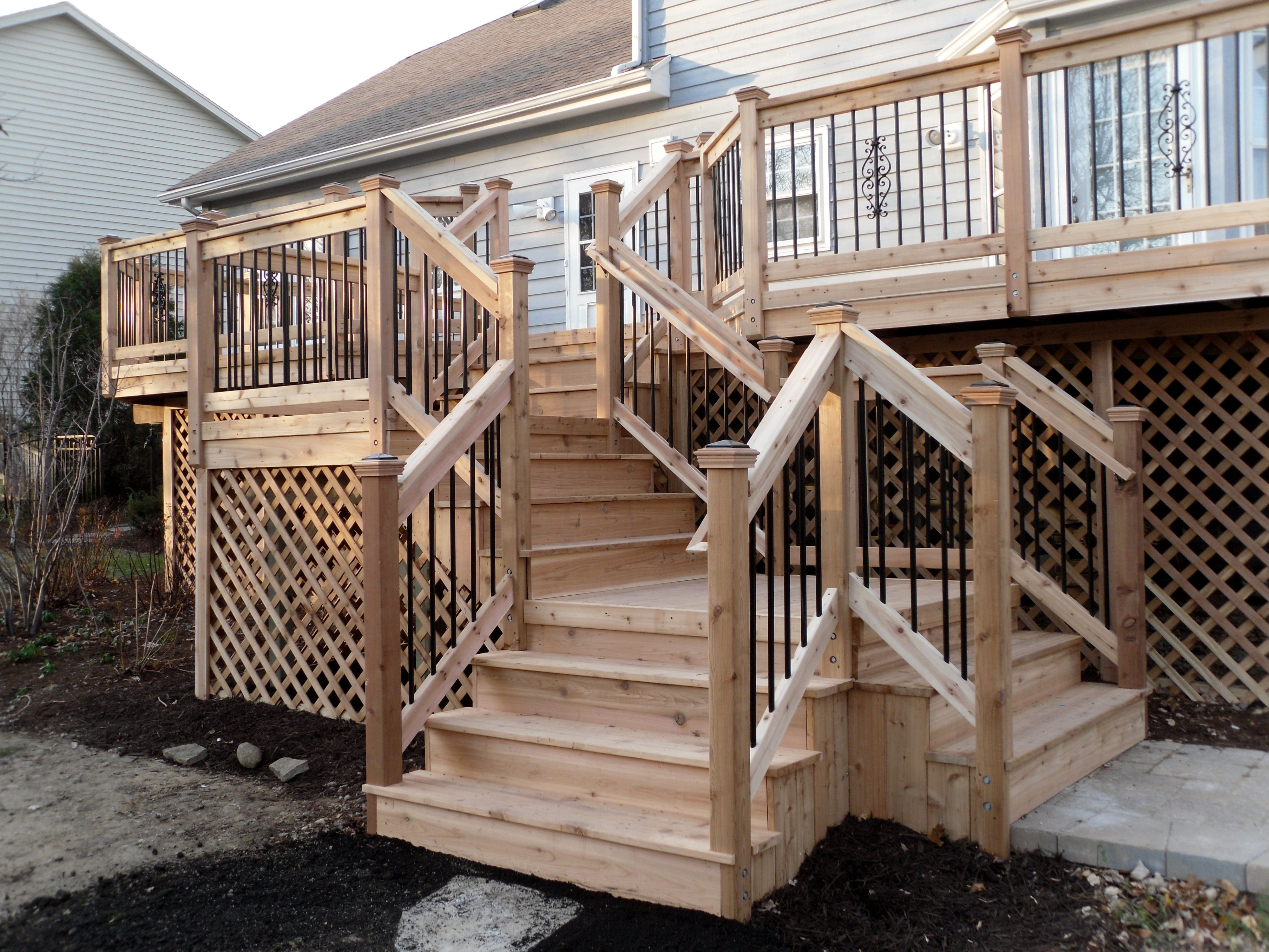 Best Backyard Images Cedar Deck With Multiple Direction Stairs 400 x 300