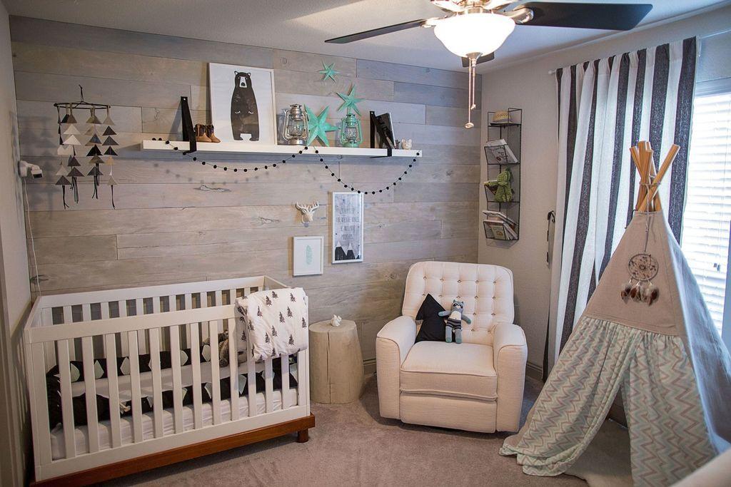 Eclectic Nursery With Flush Light Ceiling Fan Stikwood Sea Foam West Elm Natural Tree Stump Side Table Carpet