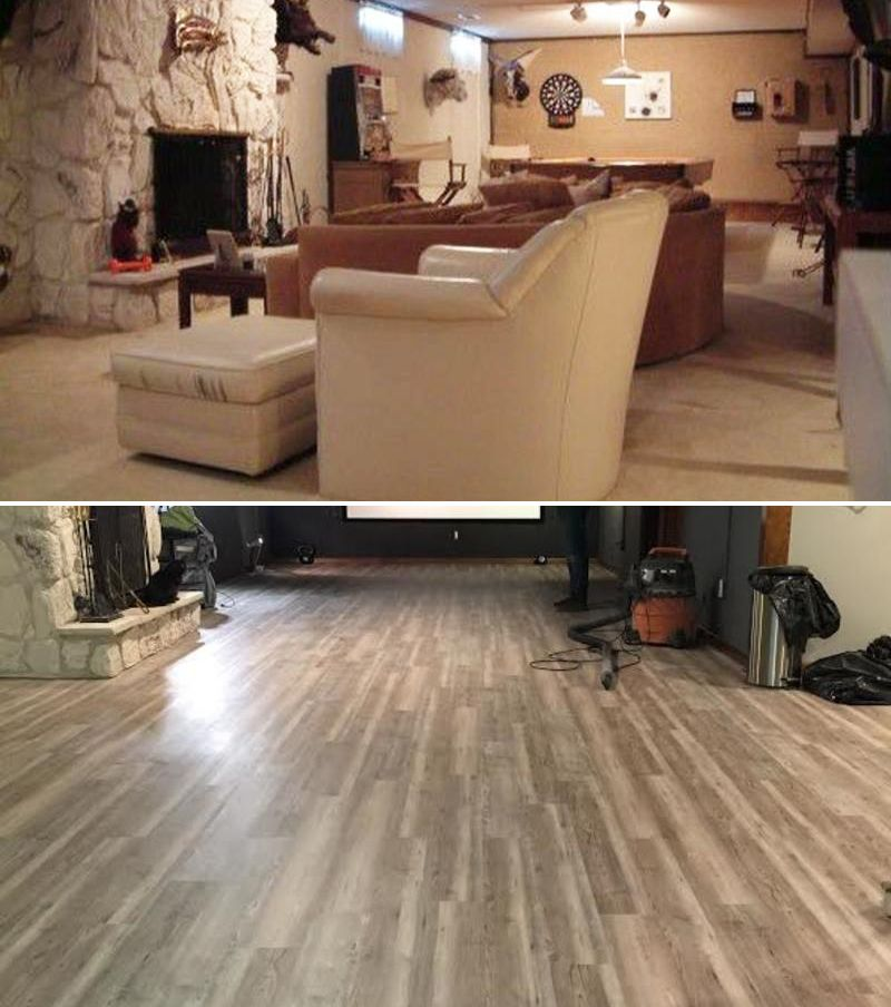 Basement Makeover U2013 Edgewater Oak Luxury Vinyl Plank!