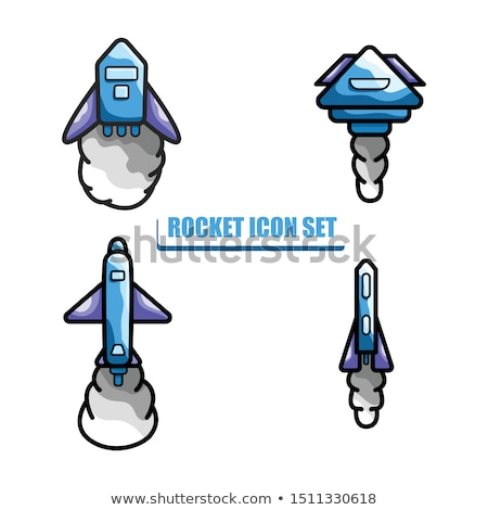 Rocket Icon Set Illustration With Blue And Purple Color Icon Set Blue And Purple Illustration