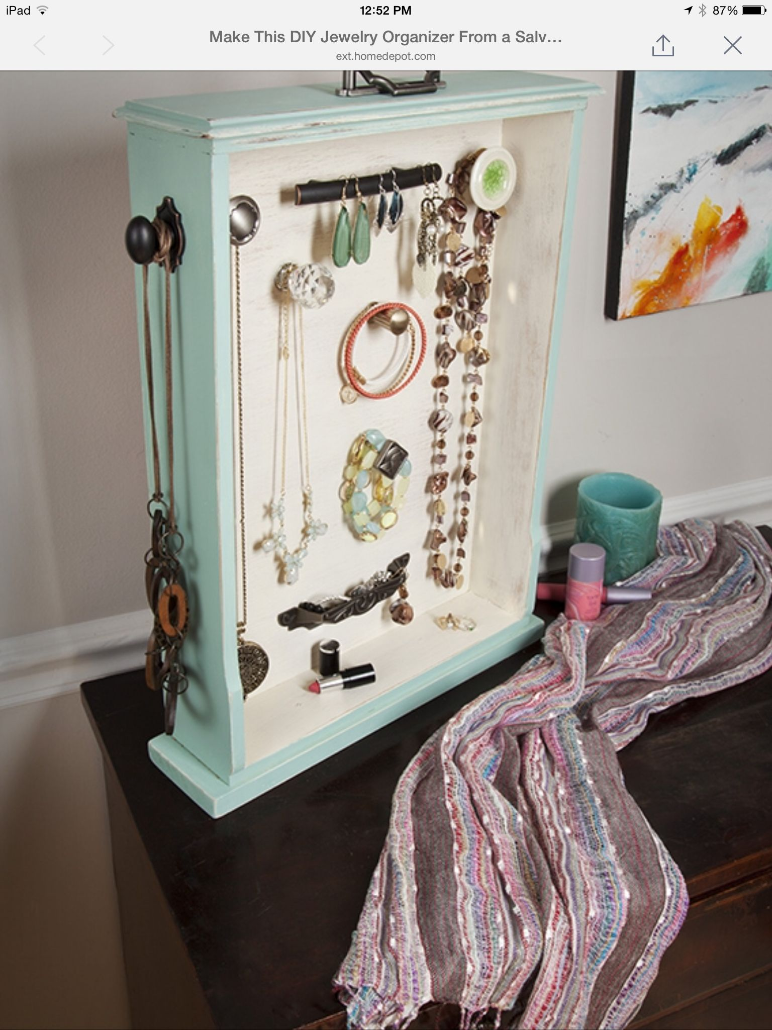 Jewalry organizer idea from Home Depot The Apron Blog