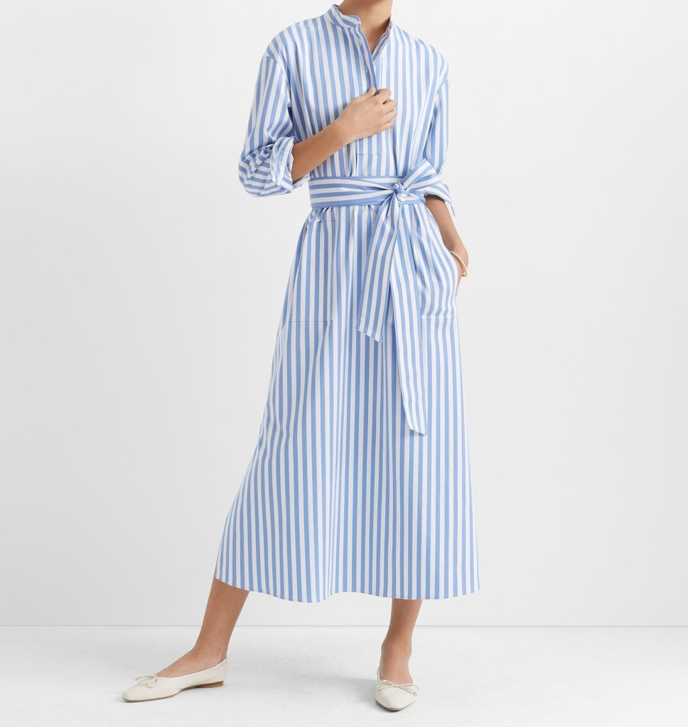 Habitually Chic 20 Pretty Dresses For Spring And Summer Striped Midi Dress Midi Ruffle Dress Pretty Dresses [ 1024 x 968 Pixel ]