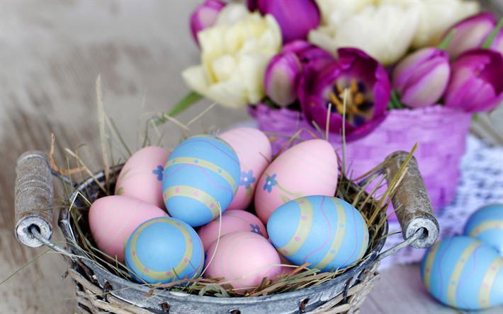 Herunterladen Hintergrundbild Ostereier, Dekoration, Frühling, Frohe  Ostern, Tulpen