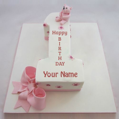 Happy 1st Birthday Cute Teddy Pink Cake With Name Write Name On 1st