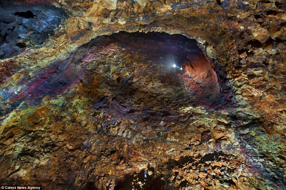 Descending to the magma: Look at the bottom of the picture, and you can see fearless explorer Iurie Belegurschi, 120 metres into the heart of the volcano