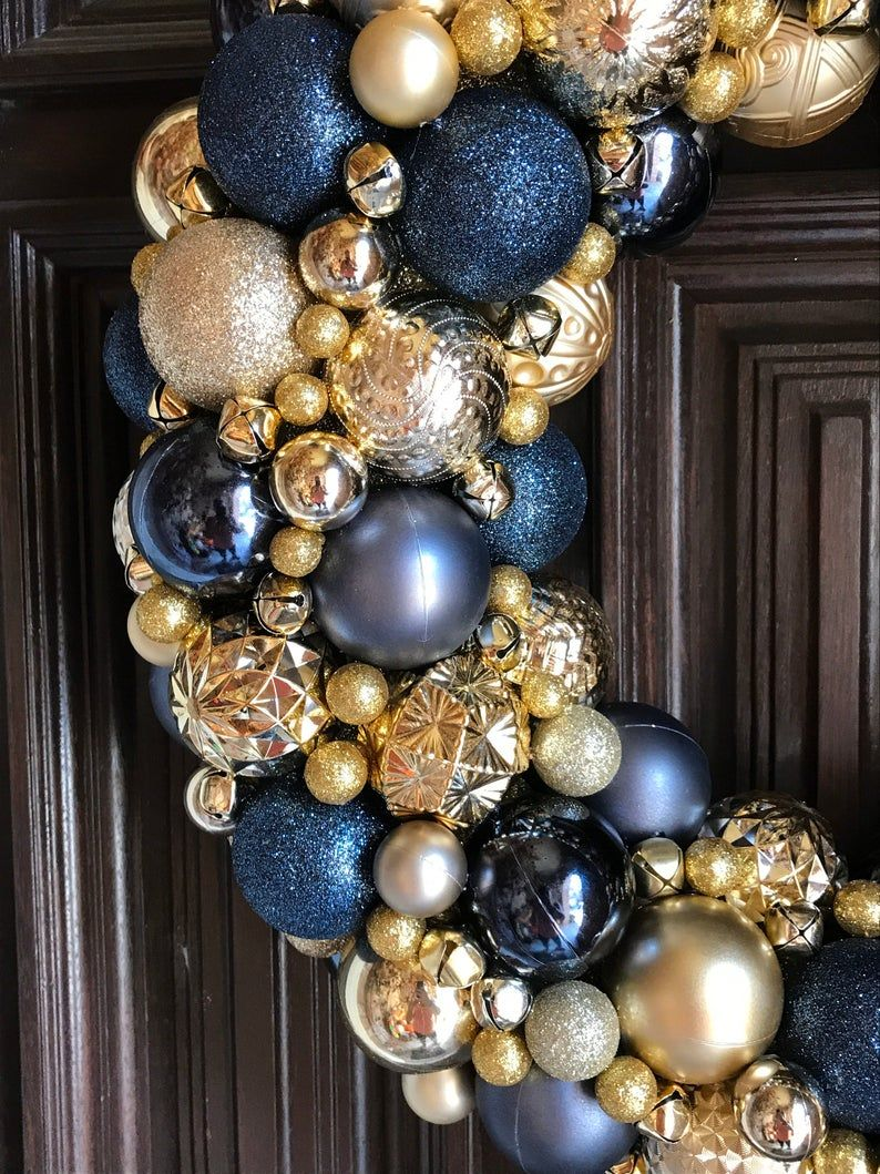 Gorgeous Navy And Gold Ornament Christmas Wreath Bauble Wreath Holiday Wreath Super Detailed Ornament Wreath Blue Christmas Tree Decorations Blue Christmas Decor Gold Christmas Decorations