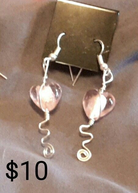 Pink silver foil heart silver wire wrapped spiral earrings.
