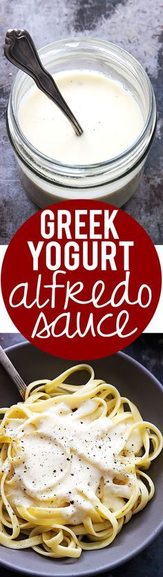 Super creamy and rich alfredo sauce made with protein-packed Greek yogurt! So amazing that we cant' get enough!