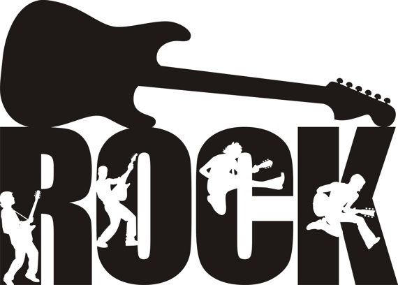 Rock Guitar Decal Rock Guitar Silhouette Rock Sticker