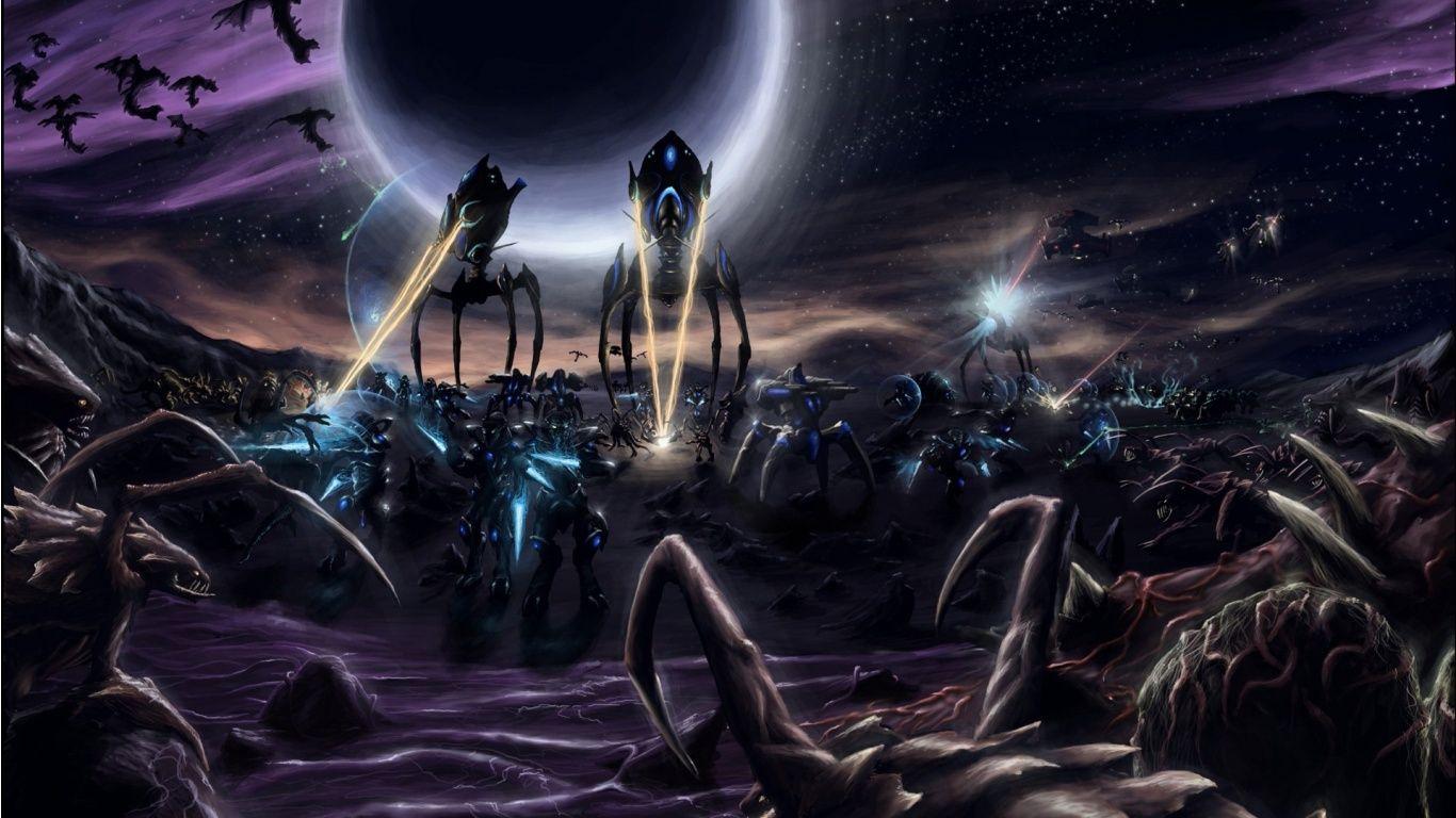 Pics photos hd wallpapers epic desktop s - Wallpapers Starcraf Game Starcraft Battle Aliens Hd Epic 1366x768