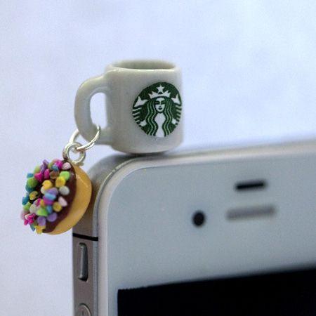 Kawaii Starbucks Coffee and Sprinkle Donut Iphone Earphone PlugDust Plug  Cellphone Headpho Kawaii Starbucks Coffee and Sprinkle Donut Iphone Earphone PlugDust Plug  Cell...