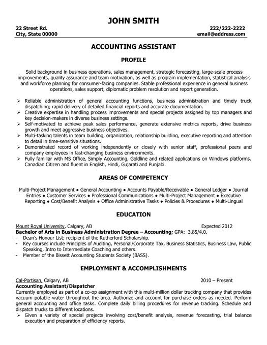 Accountant Assistant Resume - http\/\/wwwresumecareerinfo - college graduate accounting resume