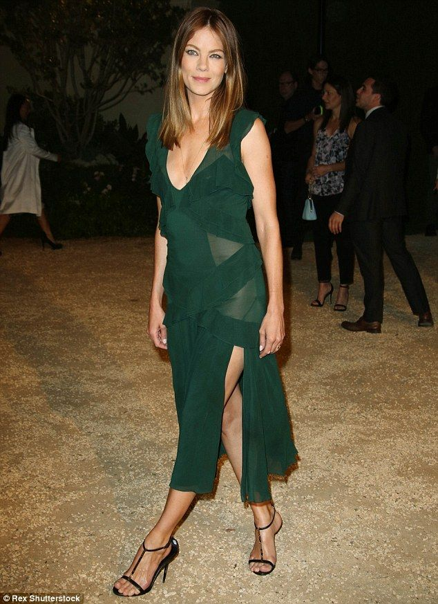 Dare to go bare  Michelle Monaghan opted not to wear undies with her green  dress as sheer panels revealed when she stepped out to Burberry s London In  Los ... 7fa2662d4