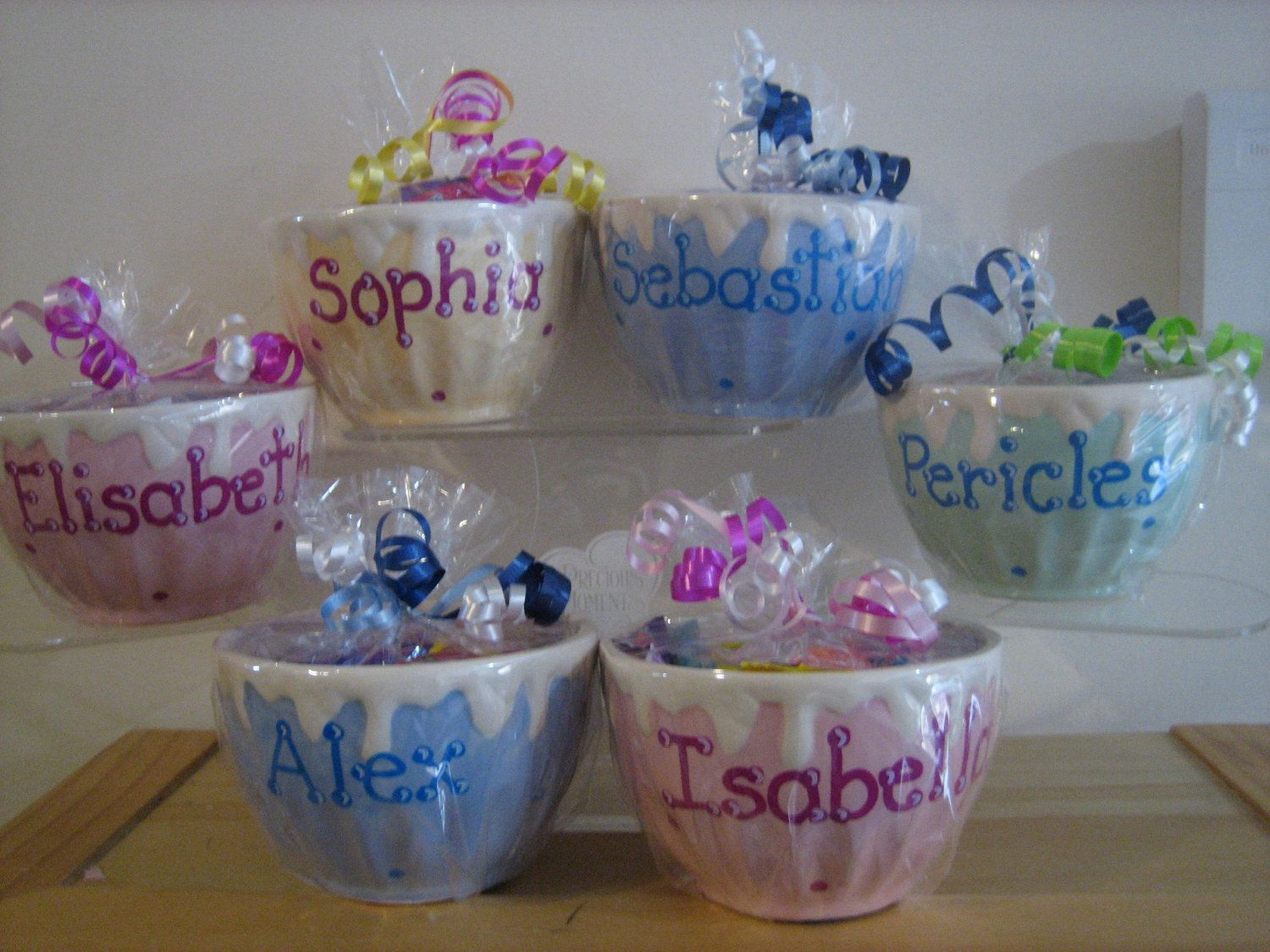 35 Personalized Ceramic Ice Cream Bowl Cup Kids Party Favors Birthdays,baby  Showers,Sweet 16s, Communions, Christenings