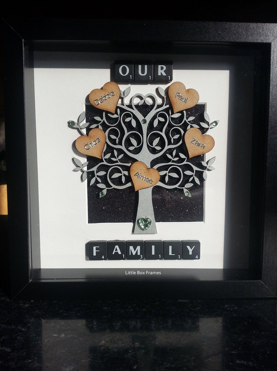 ❤ A little black and silver family tree box frame ❤ This wee ...