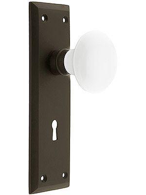 Beau Decorative Door Knobs. New York Style Door Set With White Porcelain Door  Knobs.