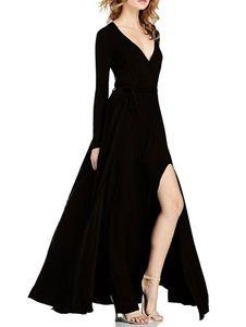 e574ec5ba Vestido largo de elastano de marca LYCRA con cuello en V Color liso con abertura  lateral