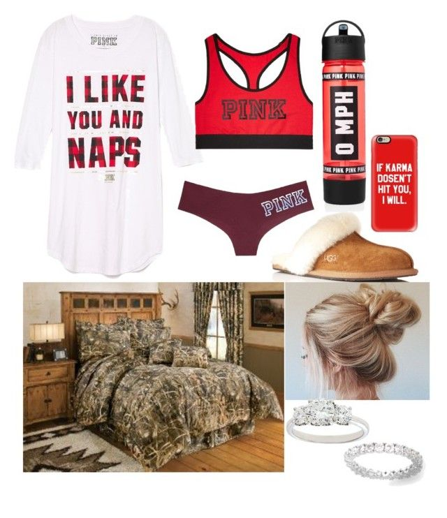 """""""Lazy day in"""" by amber-gabelt on Polyvore featuring UGG Australia, Victoria's Secret, Casetify, Realtree and De Beers"""