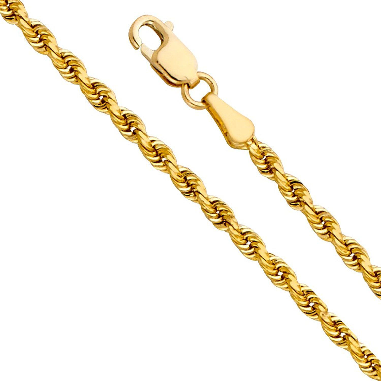 K yellow gold solid mm solid rope diamond cut chain necklace with
