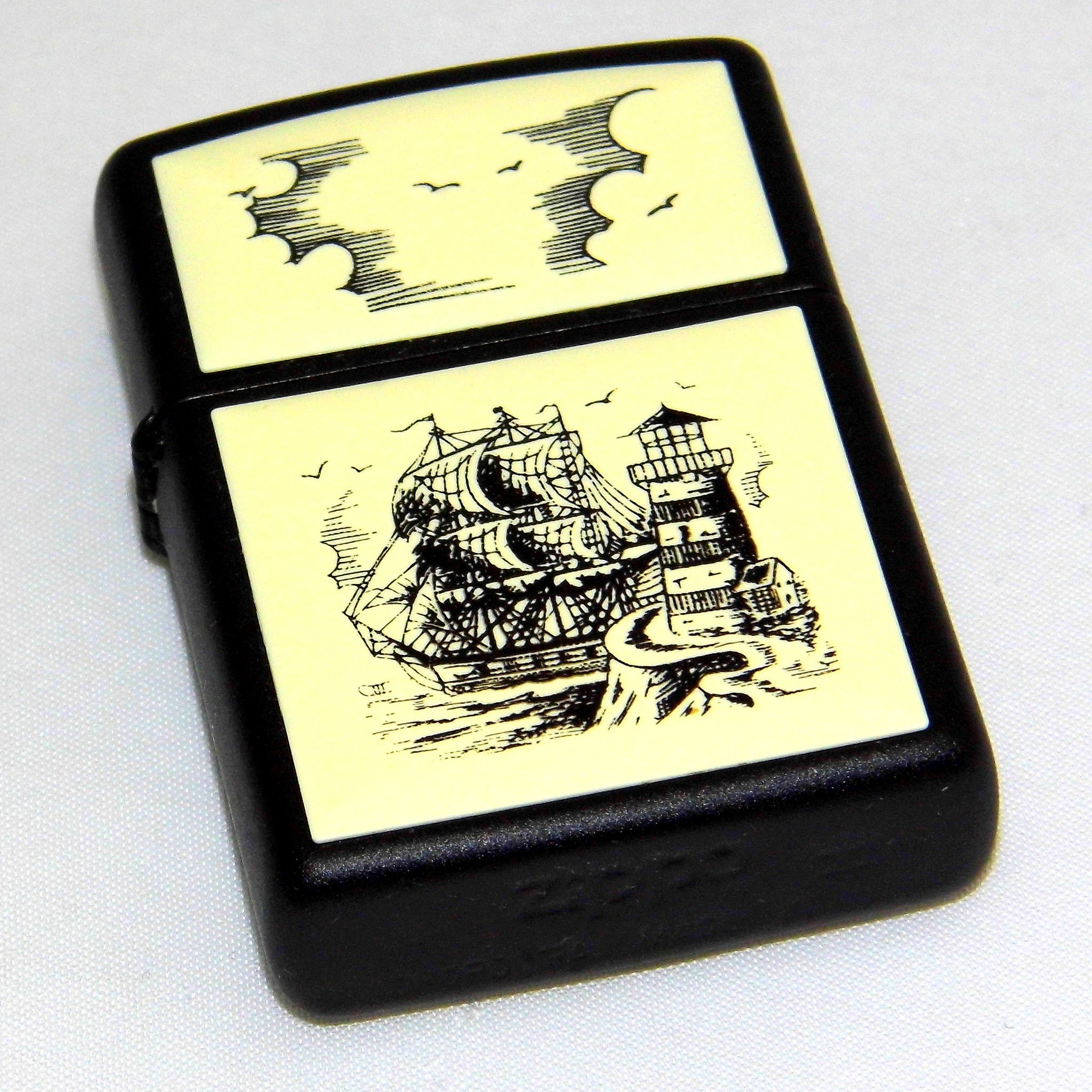 Zippo Lighter Collection Scrimshaw Design Ship Lighthouse Made In Usa Date Code H Xi Circa 1995 Zippo Zippo Lighter Scrimshaw