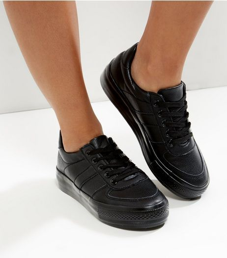 Wide Fit Black Leather-Look Trainers  | New Look