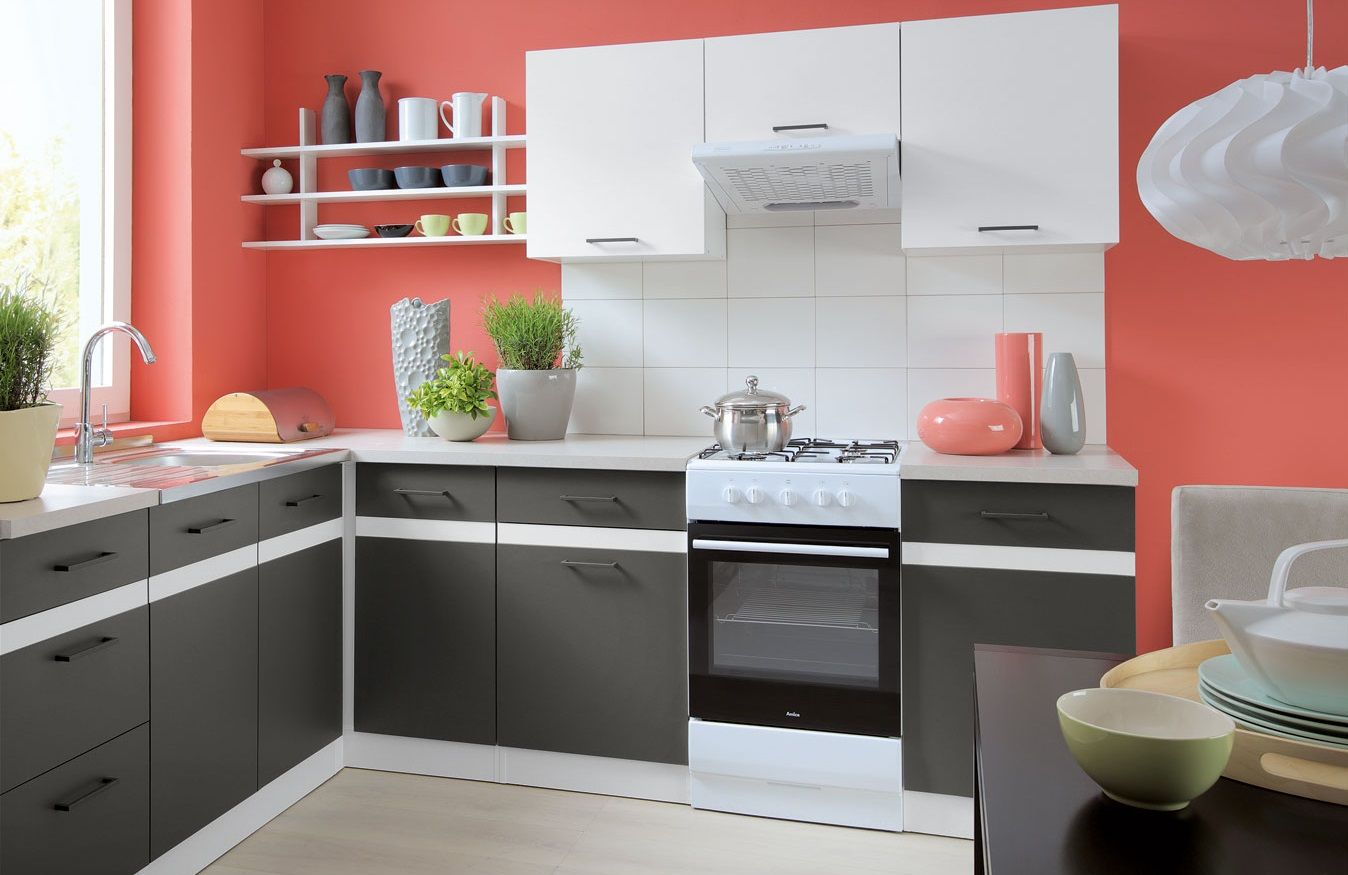 free standing white gloss/grey kitchen cabinets cupboards